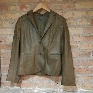 Vince Green Leather Blazer